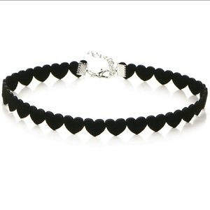 Black Heart Shaped Velver Chokee Necklace